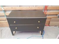 2 drawer solid wood chest of drawers