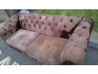 Large Vintage Worn Chesterfield Sofa