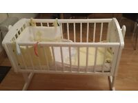 Mothercare baby crib including mattress and bumper set