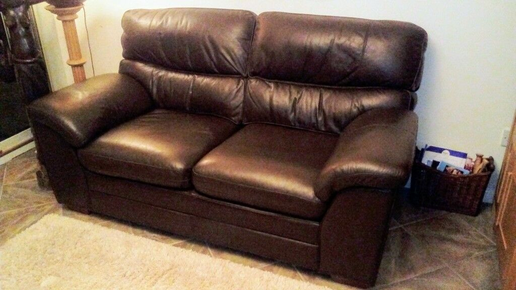 Excellent Condition Dark Brown Leather Sofa