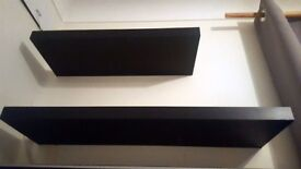 2 x Black Floating Shelves - 80cm and 60cm