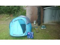 Fishing tackle items inc 3 man pop up tent