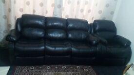 Sofa black 3+2+1 seat recline