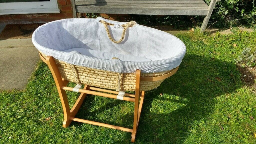 John Lewis Moses Basket with base for sale incl. mattress and sheets