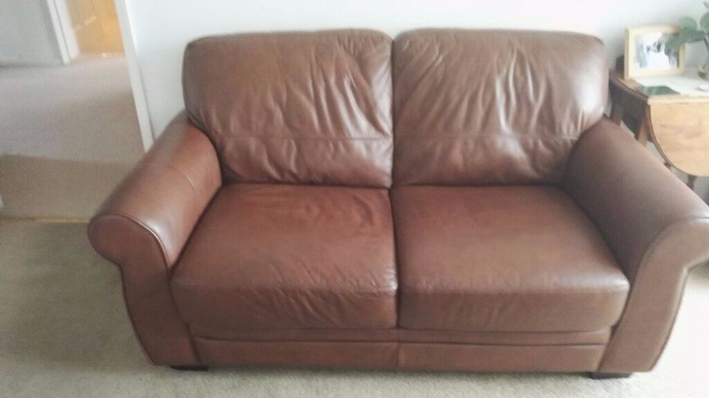 BROWN LEATHER SOFA - EXCELLENT CONDITION (£500 NEW)
