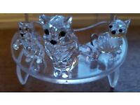 Swarovski Crystal Mother Cat and Two Kittens