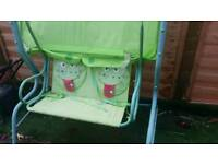 Frog garden swing for two
