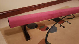 Top quality pink gymnastics balance beam 8ft long 12in high - superb condition