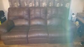 Large 3 seater brown leather reclining settee