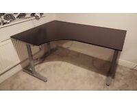 Desk - Ikea Galant / Bekant Corner Desk Black-Brown Oak Style