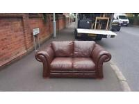 DFS 2 seater sofa in brown leather, very good condition,was £999 new,we need £225