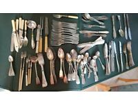 Large mixed lot of silver plate and steel cutlery