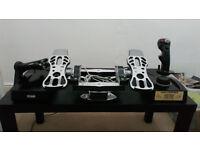 MFG crosswind Rudder Pedals / toe brakes, Thrustmaster cougar hotas Flight Stick / Throttle