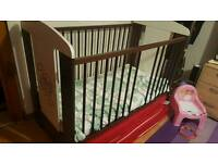 Baby Cot Cream And Brown With Mattress