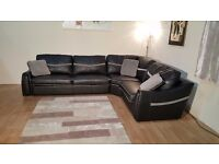 Ex-display Sisi Italia Victor black leather and fabric corner sofa