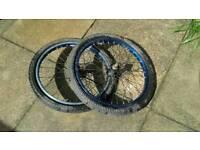 BMX metallic blue bike wheels