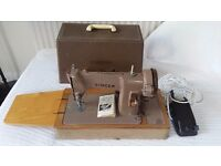 Vintage 1950s/60s Singer 185k electric sewing machine, foot pedal, bobbins & instructions