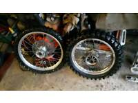 Honda cr80 wheels,swing arm etc