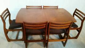 Portwood Teak Mid Century Extendable Dining Table and Six Chairs