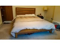 BHS double pine wood bed (matress incl)