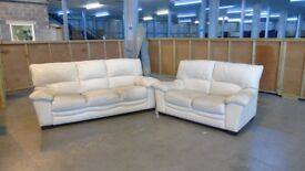 Cream leather 3 seater and 2 seater £49.00