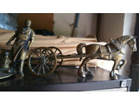 Large brass ornaments of horses, carts and blacksmiths x 3