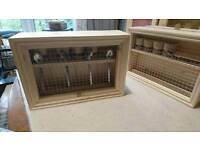Handmade wooden egg box with wire mesh front