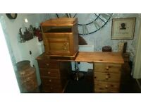 Pine dressing table & Bedside cabinet
