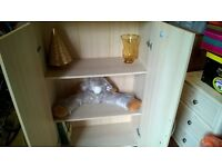 Book and Storage Cupboard, pale pine effect.