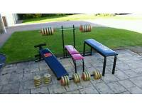 Weight bench and weights set