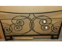 New black single bed metal headboard