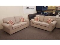 2x Designer Taupe Fabric 2.5 Seater Sofas Can Deliver