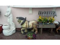 LARGE HORSE AND CART GARDEN ORNAMENT