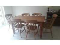 Solid pine table 150cm x 90cm and 6 chairs
