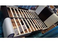DOUBLE SLEIGH BED CREAM AND DARK BROWN