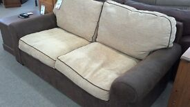 3 seater sofa brown and cream fabric