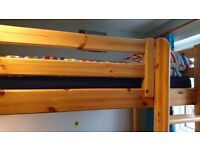 Solid Pine TR Hayes High rise bed with desk