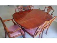Yew Dining Table 6 Chairs Including 2 Carvers Extendable Excellent Condition
