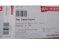 2 x The Commitments tickets Edinburgh Playhouse Thur 2nd March Stalls Row Z - £90 face value O.N.O
