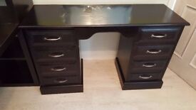 Vintage Oak Desk Hand finished in Black with shabby chic distressed look.