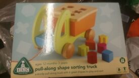 BNIB ELC Wooden pull along wooden shapes truck