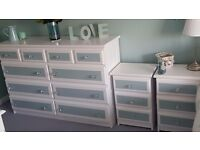 White And Duck Egg Extra Large Chest of drawers and 2 bedside drawers