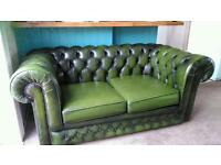 Chesterfield sofa antique green 2 seater