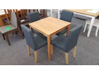 Julian Bowen Coxmoor Solid Oak Square Dining Table & 4 Dining Chairs Can Deliver