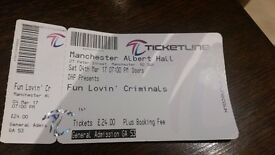 FUN LOVIN' CRIMINALS - 1 ticket Manchester, 24/3/17 OFFERS ACCEPTED