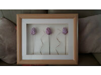 Box Picture Frame with 3 flowers