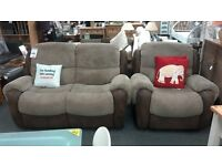 Suite Two Seater plus One Chair Cord Brown / Beige BRITISH HEART FOUNDATION