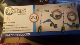 Rollers trike to tri scooter. Brand new. Box unopened.