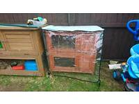 Double hutch with cover