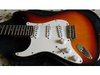 'Vintage' Electric Guitar, Stratocaster Replica, Colour: Sunburst, Left handed, no tremolo bar